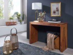 Wohnling Konsolentisch MUMBAI Massivholz Sheesham Konsole Schreibtisch 115 x 40 cm Landhaus-Stil Arbeits-tisch Naturholz modern