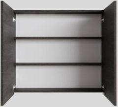 Spiegelkast Boss & Wessing Cube 80x70x16 cm 2 Deuren Donkerbruin