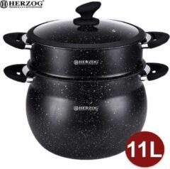 Zwarte Herzog HR-CP11M: 11L aluminium steencoating couscous pot