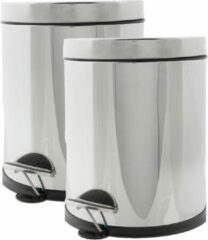 Cosy&Trendy 2x stuks vuilnisbakken/pedaalemmers zilver 5 liter 25 cm RVS - Afvalemmers - Prullenbakken