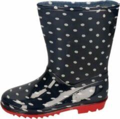 Apollo Blauwe peuter/kinder regenlaarzen blauw met witte stippen - Rubberen laarzen/regenlaarsjes voor kinderen 25