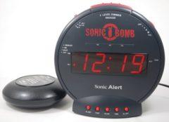 Zwarte SONIC ALERT Sonic Boom wekker voor slechthorenden