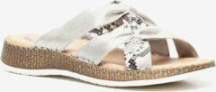 Jenny dames slippers met slangenprint - Zilver - Maat 40