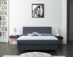 Antraciet-grijze Better Nights Complete Boxspring Better Night 180x200 cm met pocketveren matras en topper - kleur antraciet stof
