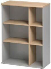 Gamillo Furniture Open Boekenkast Jazz 3 van 114 cm hoog in beuken met licht grijs