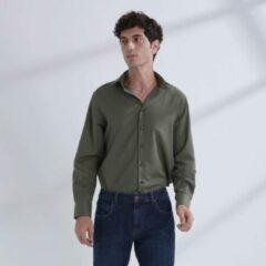 Kaki Heren Overhemd Khaki MT 44 - Baurotti Lange Mouw Regular fit