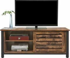Bruine Vasagle TV meubel in industrieel design hout 110x40x45 cm | TV kast met schuifdeuren en 2 planken | Bijzetkast voor in woonkamer, slaapkamer en hal | Hoogwaardig en duurzaam materiaal | Gemakkelijk te monteren | Vintage kast