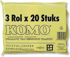 Grijze Komo Vuilniszakken 3 x 20 stuks - 60 liter