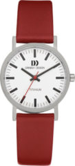 Zilveren Danish Design watches titanium dameshorloge Rhine White Red Small IV19Q199