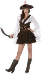 KARNIVAL COSTUMES - Bruin-wit piraten kostuum voor vrouwen - M - Volwassenen kostuums