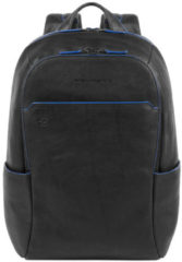 "Zwarte Piquadro Blue Square Small Size Computer Backpack with iPad 10.5"" black backpack"