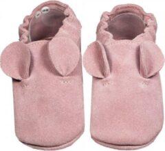 Hobea Babyslofjes suede roze met oortjes (Loop)