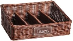 Naturelkleurige Cosy&Trendy CUTLERY TRAY WILLOW BROWN 4COMP.34X28XH7-12CM