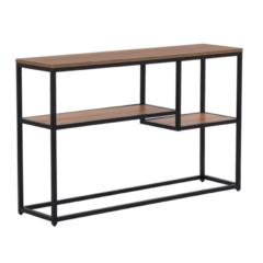 Beliani Console / wandtafel donkere hout-look / zwart 30 x 120 cm. rechthoekig BELMONT