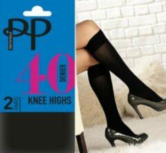 Pretty Polly 40 Denier Zwarte opaque kniekousjes 2PP