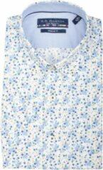 Blauwe Bos Bright Blue 106670 Casual overhemd met korte mouwen - Maat L - Heren