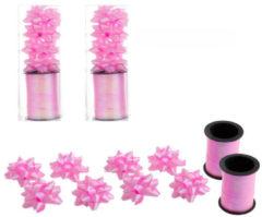 Adidas 2x Rollen cadeaulint sierlint 10 meter roze en 8 strikjes