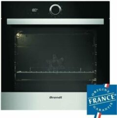 Zwarte BRANDT BXP5560X - Ingebouwde multifunctionele elektrische oven roterende warmte - 73L - Pyrolyse - A+ - Roestvrij staal