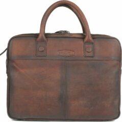 Sparwell leren tas - Lederen laptoptas 15.5 inch - gewassen leer - Donker Bruin