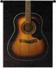 1001Tapestries Wandkleed Akoestische gitaar - Akoestische gitaar op een zwarte achtergrond Wandkleed katoen 90x120 cm - Wandtapijt met foto