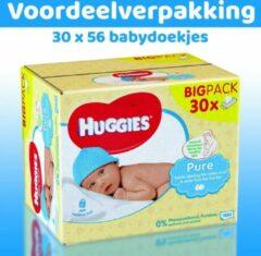 Huggies Pure Babydoekjes - 30 x 56 babydoekjes - XXL voordeelverpakking - Parfumvrij & dermatologisch getest - 30 x 56 - 1680 billendoekjes