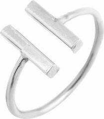Amodi 24/7 Jewelry Collection Dubbele Bar Ring Verstelbaar - Verstelbare Ring - Zilverkleurig