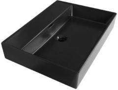 Saniclass Legend 60 wastafel met 1 kraangat 60.5x46.5x13 keramiek mat zwart 2221