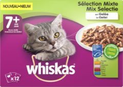Whiskas 7+ Senior Multipack Maaltijdzakjes - Mix in Gelei - Kattenvoer - 48 x 100 g