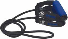 Donkerblauwe Mad Fitness FitnessMad | Weerstandtubing - Weerstand ZWAAR. 130 CM. Zeer sterke - en hoge kwaliteit tubing met handvatten om (thuis) mee te trainen.