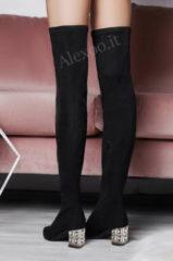 Nero Alx Trend Stivali alla coscia con tacco impreziosito Casilda Neri