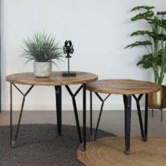 Bronx71 Industriële salontafel Levi - Mangohout - Set van 2 - Ø45&40cm