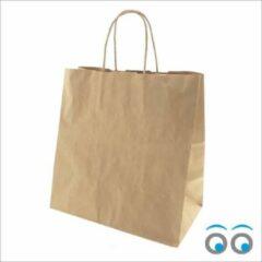 Bruine Kadoonline etiketten 50 papieren draagtassen kraft (32 x 20 x 32)