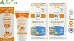 Alphanova Sun Alphanova BIO SUN Gezinspakket - Bescherming UVA EN UVB - Gevoelige en Allergische Huid - Waterproof (3 stuks)