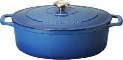 Blauwe Chasseur Ovale Stoofpan in Geëmailleerd Gietijzer Poseidon 4l - 27cm 4727 41