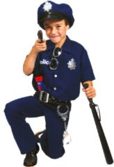 Donkerblauwe Funny Fashion Verkleedpak politie agent jongen Good Cop 140 - Carnavalskleding