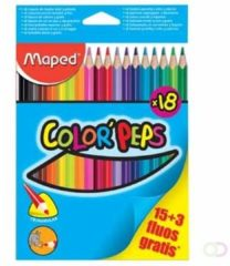 Kleurpotlood Maped color\'peps 15 kleurpotloden + 3 fluo