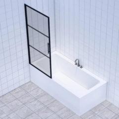 Badkamerdepot Badwand Frame 80x150 cm 8 mm NANO Glas Mat Zwart Raster