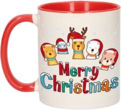 Bellatio Decorations Kerstmis cadeau mok - Merry Christmas - diertjes - 300 ml - keramiek - mokken / beker - Kerst servies