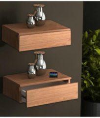 2er Wandschublade Hängeschrank Nachttisch Wandschrank Dielenmöbel Schrank Regal Blado-2x1 VCM Kern-Nussbaum