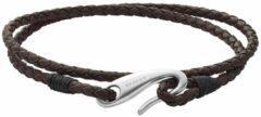 Donkerbruine Skagen Hulsten armband van leer SKJM0174040