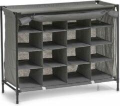 Merkloos / Sans marque Mobiele opvouwbare schoenenkast met grijze hoes 84 cm - Zeller - Schoenen opbergers/opbergen - Schoenenkasten - Camping/zolder kasten - Stoffen kasten opvouwbaar