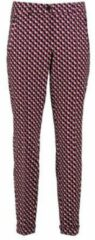 Claudia Sträter slim fit pantalon met all over print fuchsia/zwart/lichtblauw