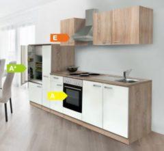 Respekta kitchen economy Respekta Küchenzeile KB300ESWOES 300 cm Weiß-Eiche Sägerau Nachbildung
