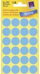 Avery-Zweckform 3005 Etiketten à 18 mm Papier Blauw 96 stuk(s) Permanent Etiketten voor markeringspunten