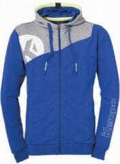 Kempa Core 2.0 Hood Jacket Royal Blauw-Donker Grijs Melange Maat XL