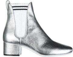Argento Fendi Stivaletti stivali donna con tacco in pelle