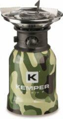 Groene Kemper RVS portabele camping gaspit met piëzo ontsteking - 1 pits - camo