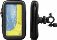 Zwarte Shop4 telefoonhouder fiets - Samsung Galaxy J6 (2018) - Waterdicht