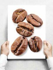 Beige Creatief Art Wandbord: Koffiebonen op een witte achtergrond - 30 x 42 cm