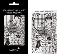 Grijze KONAD Square Plates 19 met verschillende stempel designs.